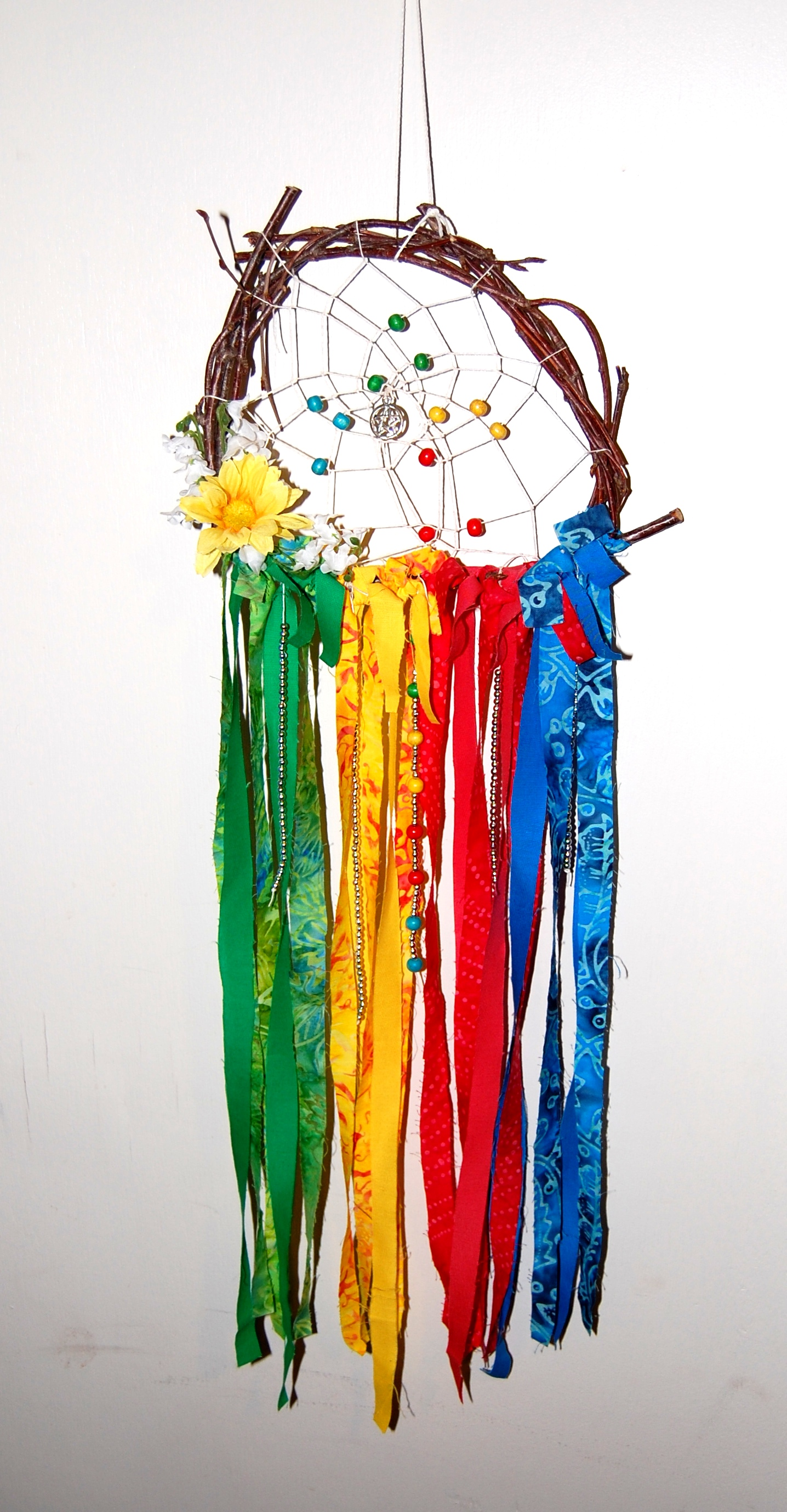 "- Dream Catcher ""Elemental"" Hand-made Twig Wreath With Bright Colors"